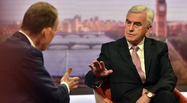John McDonnell talks to Andrew Marr (Jeff Overs/BBC/PA)