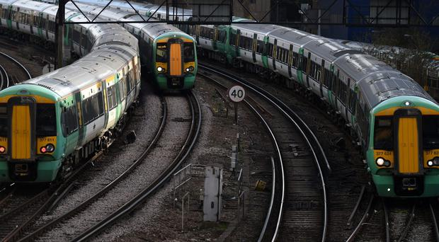 Southern trains near Victoria Station, London (KIrsty O'Connor/PA)