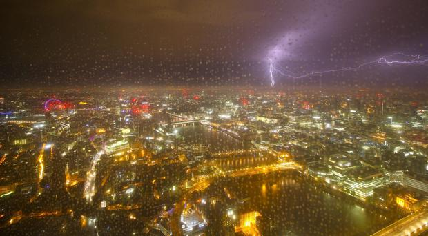 Lightning over London seen from The Shard (The View from The Shard/PA)