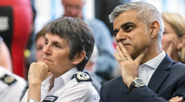 London mayor Sadiq Khan with Metropolitan Police commissioner Cressida Dick (Lauren Hurley/PA )
