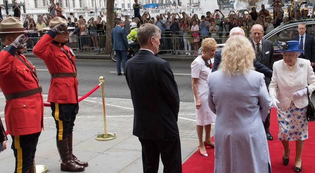 The Queen arriving at Canada House (Stefan Rousseau/PA)
