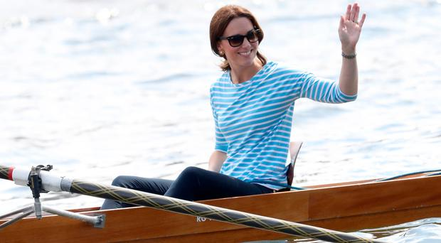 Duchess of Cambridge during the boat race in Germany yesterday