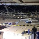 The scene inside the Al Miraj Banqueting Suites after part of the glass ceiling collapsed (West Midlands Ambulance Service/PA)