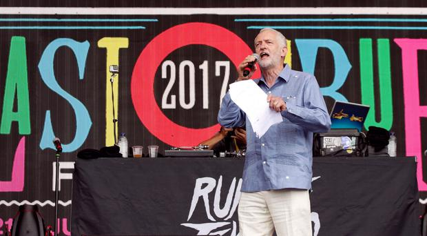 Jeremy Corbyn on the Pyramid Stage at Glastonbury (Yui Mok/PA)