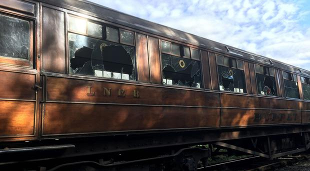 One of the antique train carriages vandalised (North Yorkshire Railways/PA)