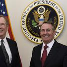 Liam Fox, right, met US trade representative ambassador Robert Lighthizer in Washington (Sait Serkan Gurbuz/AP)