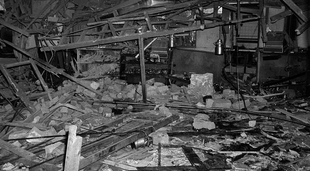 The destroyed interior of the Mulberry Bush pub in Birmingham (PA)
