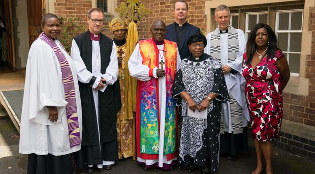 The Archbishop of York Dr John Sentamu (fourth from left) led a service to honour five victims of the Grenfell Tower fire ( Dominic Lipinski/PA)