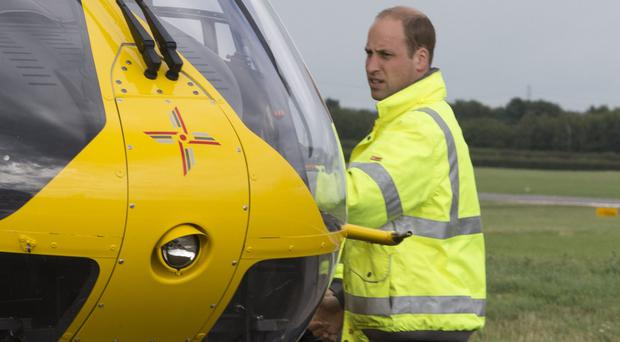 The Duke of Cambridge starts his final shift with the East Anglian Air Ambulance (Heathcliff O'Malley/The Daily Te/PA)