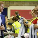 Prince Harry at a Royal Mail site in Greenford, north-west London. (Caroline Irby/Red Cross/PA Wire)