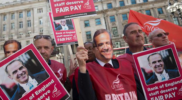 Protests were held outside the Bank of England on Tuesday (Lauren Hurley/PA)