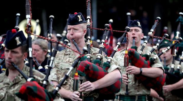 Members of the Royal Regiment of Scotland (2 Scots) are put through their paces (Jane Barlow/PA)