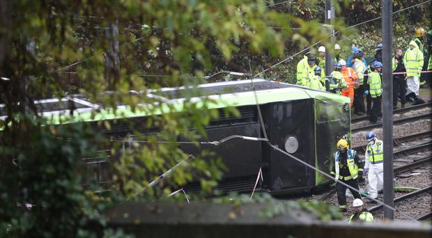 The overturned tram in Croydon (Steve Parsons/PA)