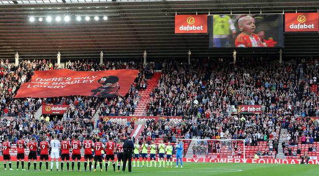 Sunderland and Derby players pay tribute to Bradley Lowery before their Championship opener (Owen Humphreys/PA)
