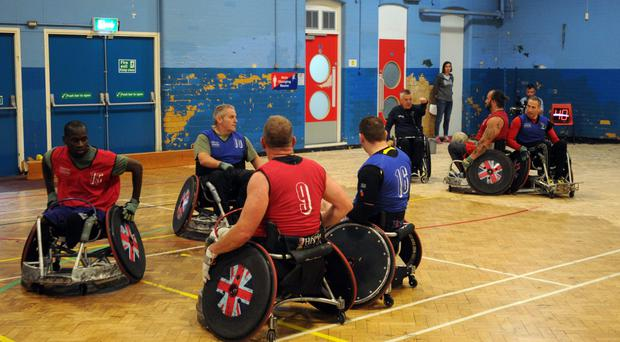 A training session at the Harry Mitchell Leisure Centre in Smethwick, West Midlands, for the wheelchair rugby squad and their coaching staff (Matthew Cooper/PA)