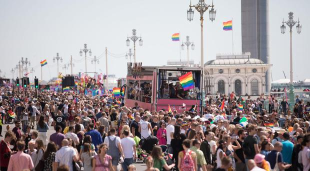 Floats take part in the Brighton Pride parade (David Parry/PA)