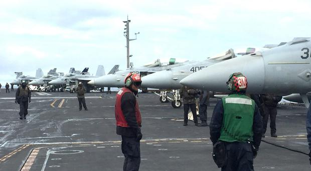 Commodore Andrew Betton was speaking aboard American aircraft carrier USS George HW Bush (John Vale/PA)