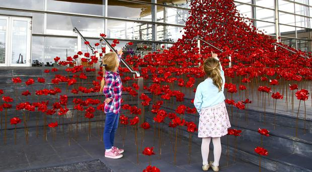 The Weeping Window poppies memorial has been installed in Cardiff (Geoff Caddick/PA)