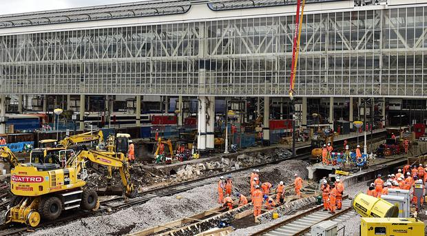 Engineering work is underway at Waterloo Station (Dominic Lipinski/PA