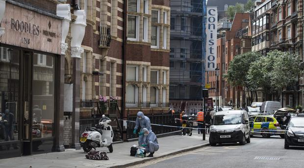 Forensics at the scene of a robbery at Boodles in Knightsbridge, London (Lauren Hurley/PA)