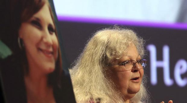 Susan Bro at a memorial event for her daughter Heather Heyer
