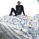 James Cracknell has unveiled a model of a whale made out of recovered plastic (Neil Munns/PA)