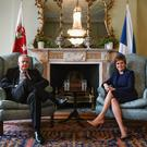 Carwyn Jones and Nicola Sturgeon meet in Edinburgh (Jeff J Mitchell/PA)