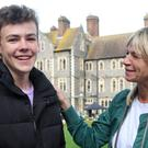 Woody Cook is congratulated by his mother, Zoe Ball, after receiving his GCSE results at Brighton College (Gareth Fuller)