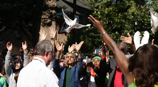 Mayor of London Sadiq Khan takes part in a release of doves as a show of respect for those who died in the Grenfell Tower fire (Yui Mok/PA)