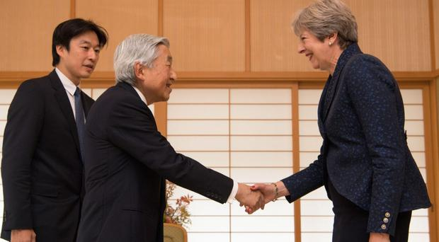 Theresa May met with Emperor Akihito on the final day of her trip to Japan (Carl Court/PA)