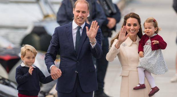 The Duke and Duchess of Cambridge with Prince George and Princess Charlotte in Canada (Dominic Lipinski/PA)