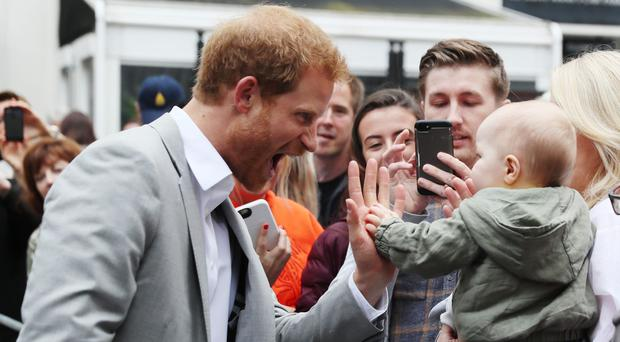 Prince Harry meets members of the public in St Anne's Square, Belfast (Brian Lawless/PA)