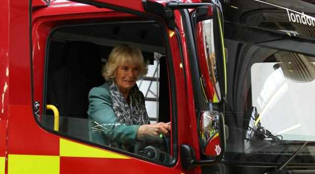 The Duchess of Rothesay behind the wheel of a fire engine in Cumnock, East Ayrshire (Andrew Milligan/PA)