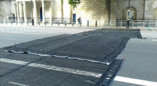 Scotland Yard has unveiled a new spiked, vehicle-stopping net designed to stop vans and lorries targeting crowds in terror attacks (Metropolitan Police/PA)