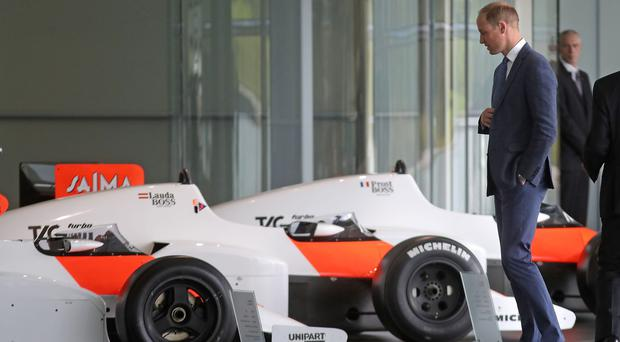 The Duke of Cambridge during a visit to the McLaren production centre in Woking (Steve Parsons/PA)
