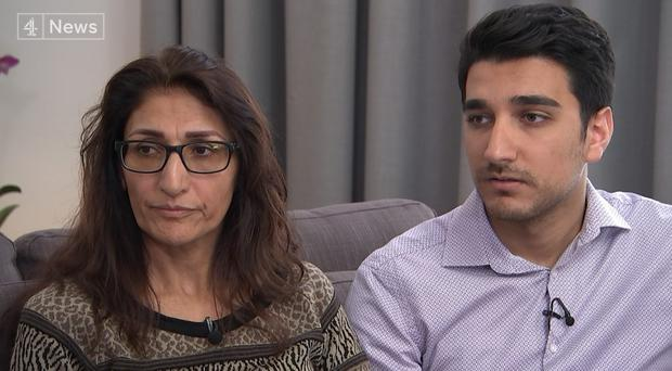 Farhad Neda, 24, carried his disabled mother to safety from the top floor of the burning Grenfell Tower (Channel 4 News/PA)
