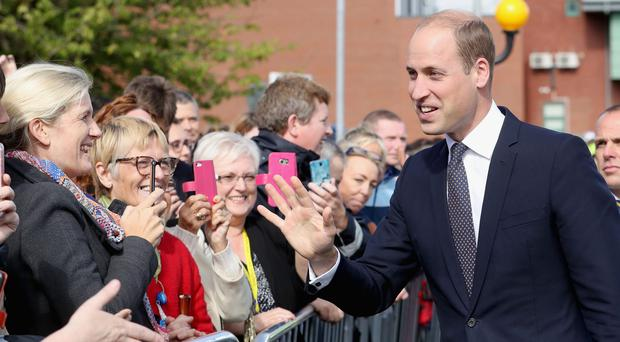 The Duke of Cambridge meets members of the public during his visit to Aintree University Hospital where he formally opened the new Urgent Care and Trauma Centre (Chris Jackson/PA) Picture by: