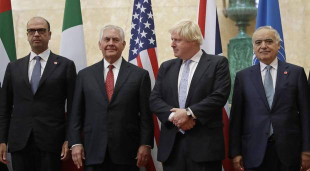 Italy's Foreign Minister Angelino Alfano, U.S. Secretary of State Rex Tillerson, Foreign Secretary Boris Johnson and UN Special Representative Ghassan Salame from Lebanon before their meeting on Libya at Lancaster House in London (Matt Dunham/PA)