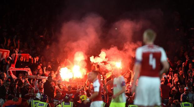 Five arrested amid chaos at Arsenal match as huge crowds of Cologne fans turn up (Joe Giddens/EMPICS Sport)