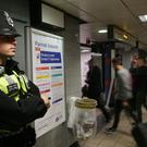 British Transport Police at Euston Station, London, after a terrorist incident was declared following a blast which sent a