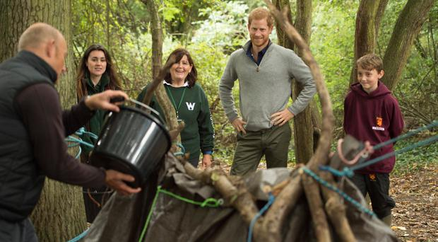 Prince Harry during a visit to Chatham Green Project, a conservation initiative at the Wilderness Foundation in Chatham Green, London