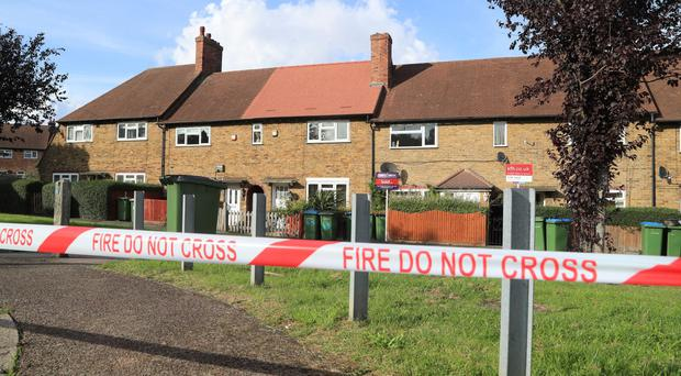 A cordon put in place by fire crews at Alwold Crescent in Lee, south London, where residents were rushed to hospital with nausea and vomiting amid fears of a chemical incident (Gareth Fuller/PA)