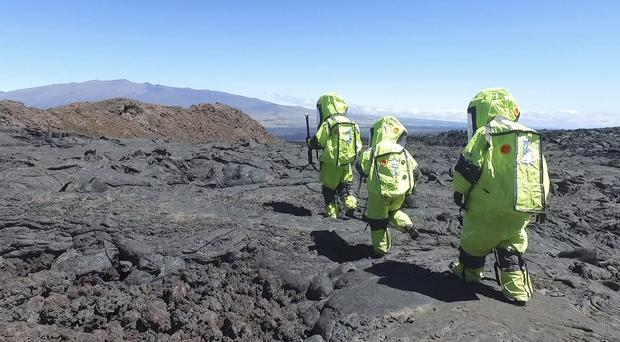 Six people, including a British man, have finished spending spending eight months confined in a dome simulating a mission to Mars (University of Hawaii via AP)