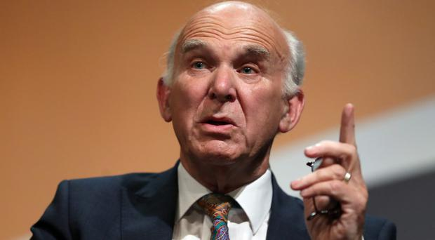 Sir Vince Cable at the Liberal Democrats' conference (Andrew Matthews/PA)