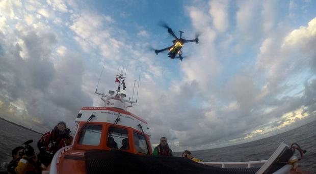 A drone takes off from a lifeboat at Caister in Norfolk (Sam Russell/PA )