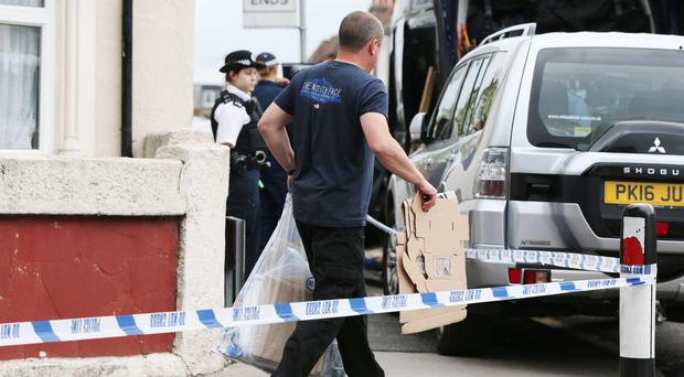 Police leave a property in Thornton Heath, south London, after a teenager was arrested by detectives investigating the Parsons Green terrorist attack, bringing the number of people being held to six (Jonathan Brady/PA)