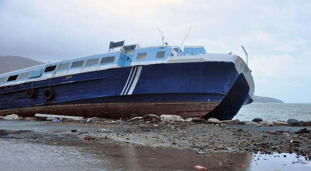A ferry beached last week by Hurricane Irma in Road Town, Tortola, the capital of the British Virgin Islands (Freeman Rogers/AP)