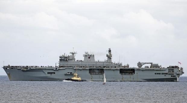 The arrival into the Caribbean of Britain's biggest in-service warship, dispatched to help with hurricane recovery efforts, has been branded