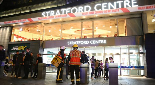 Emergency services at the Stratford Centre in east London (Isabel Infantes/PA)