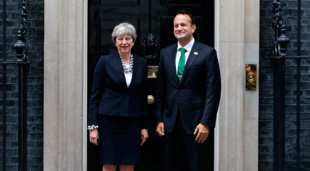 Prime Minister Theresa May with Taoiseach Leo Varadkar outside Downing Street yesterday